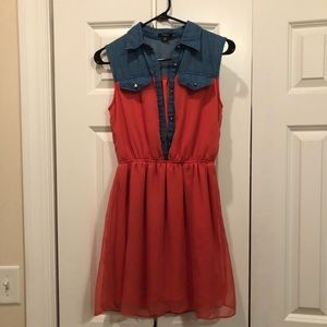 Orange & Denim Dress